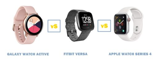 galaxy watch active vs fitbit versa vs apple watch series 4 comparisons
