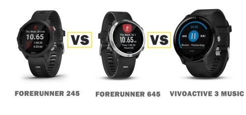 Garmin Forerunner 245 muisc vs 645 music vs vivoactive 3 music compared