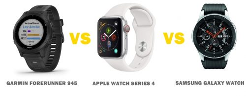 garmin forerunner 945 vs apple watch series 4 vs samsung galaxy watch